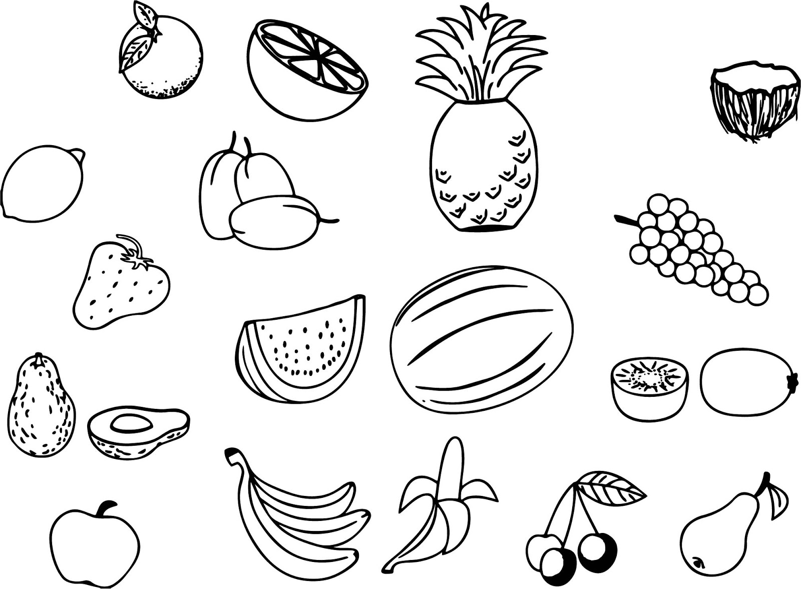 Cizim Ve Boyama Icin Renksiz Meyve Sebze Resimleri