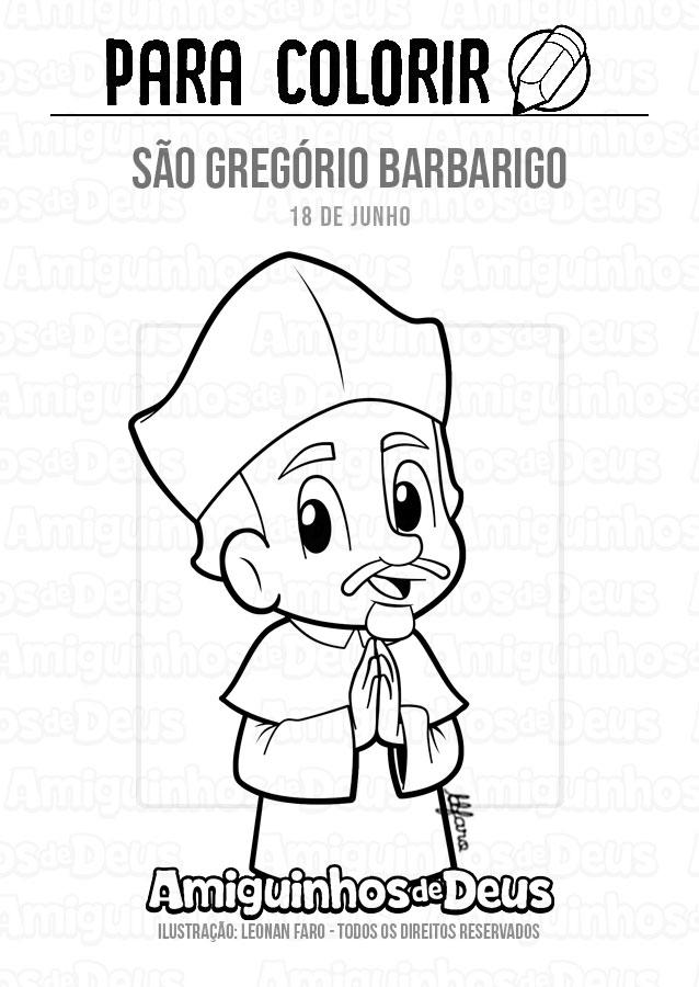 São Gregório Barbarigo desenho para colorir