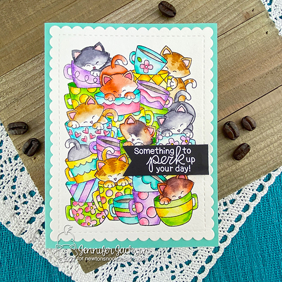 2020 Spring/Summer Coffee Lovers Blog Hop | Perk Up Your Day Kitty Card by Jennifer Jackson | Caffeinated Cats Stamp Set by Newton's Nook Designs #newtonsnook #handmade