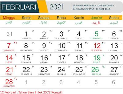 Template Kalender 2021 bulan Februari