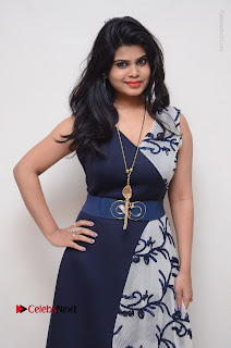 Telugu Actress Alekhya Stills in Blue Long Dress at Plus One ( 1) Audio Launch  0026.jpg