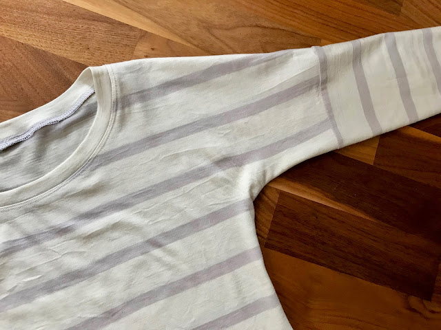 Diary of a Chain Stitcher: Sew Over It Molly Top in Stripe Merino Jersey Mushroom from The Fabric Store