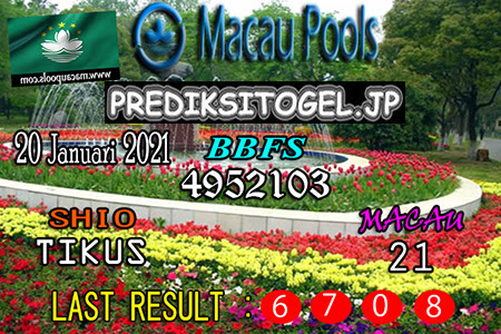 Prediksi Togel Wangsit Macau Pools Rabu 20 Januari 2021