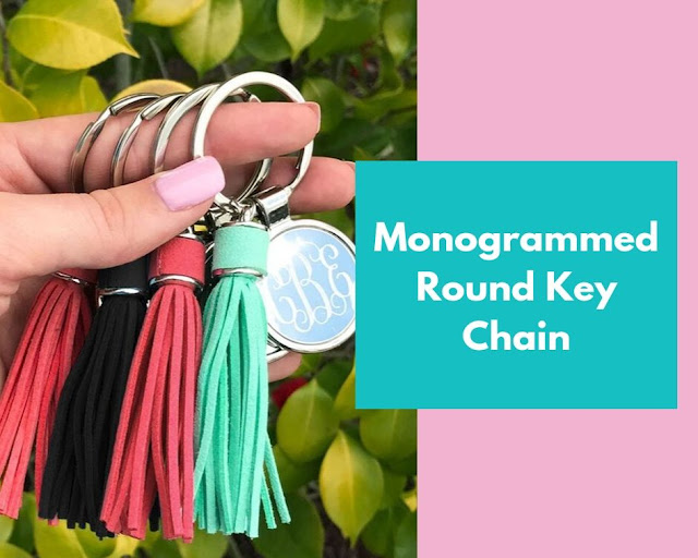 monogram key chains in several colors