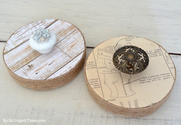 repurposed cheese boxes decorated with jewels and hardware