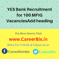YES Bank Recruitment for 100 MFIG Vacancies