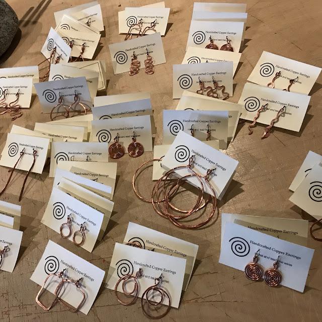 Copper Handcrafted Earrrings, Coast Chimes