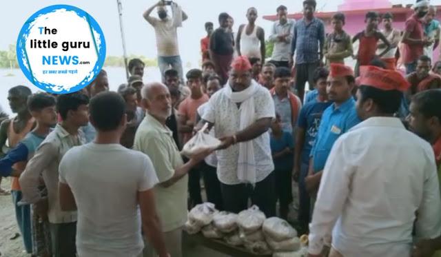 बाढ़ पीड़ितों में वीआईपी पार्टी ने किया राहत सामग्री वितरण