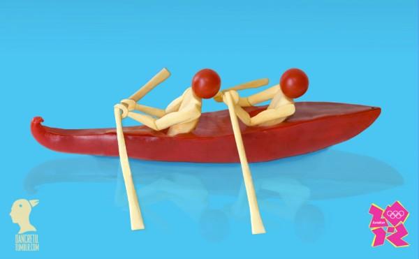 Canoa con dos hombres