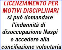 licenziamento per motivi disciplinari: si può avere l'indennità di disoccupazione Naspi?