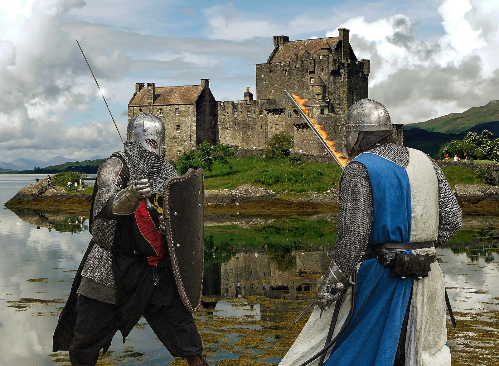 two knights sword fight in front of a castle to illustrate a blog post about war movie sword fights