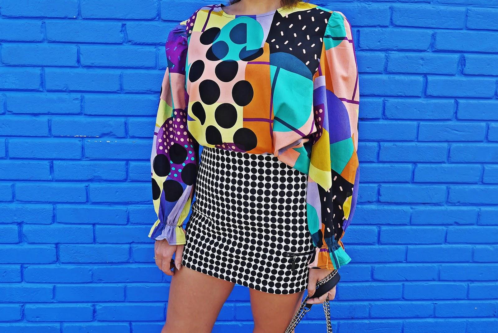 top z bufkami kolorowy shein spódnica w kropki karyn blog modowy