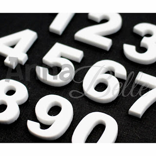Annabelle Acrylic Embellishment Pack Numbers White 2 W - 3 Quarter Designs Botanical Adventure Layout Love by Rikki Graziani