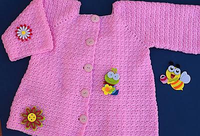5 - Crochet Imagenes Abrigo rosa a crocher y ganchillo muy fácil y sencillo , lindo por Majovel Crochet