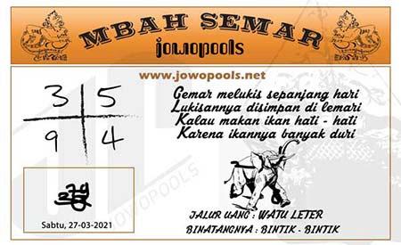 Prediksi Mbah Semar SGP Sabtu 27-Mar-2021