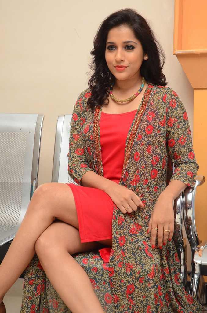 Telugu Anchor Rashmi Gautam Hot Thigh Show Photos In Mini Red Dress