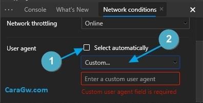 Setting User Agent Default Microsoft Edge