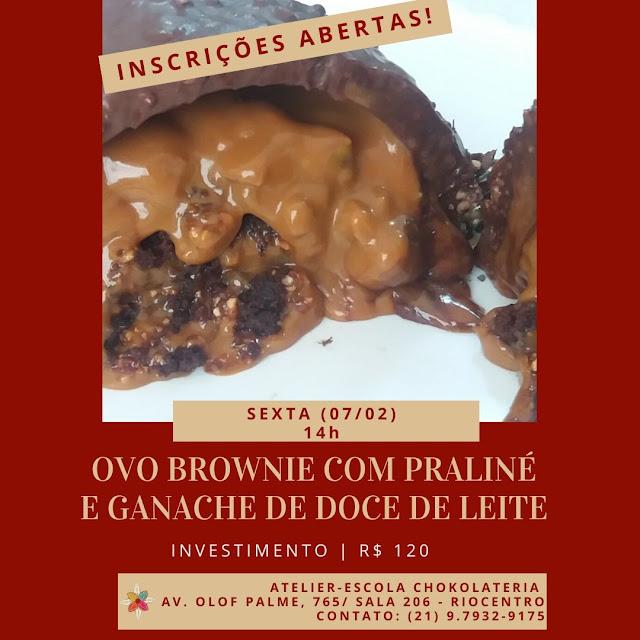 Curso | Ovo Brownie com Praliné e Ganache de Doce de Leite
