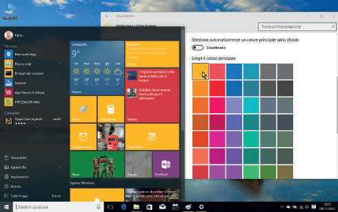 Come personalizzare colore menu start Windows 10