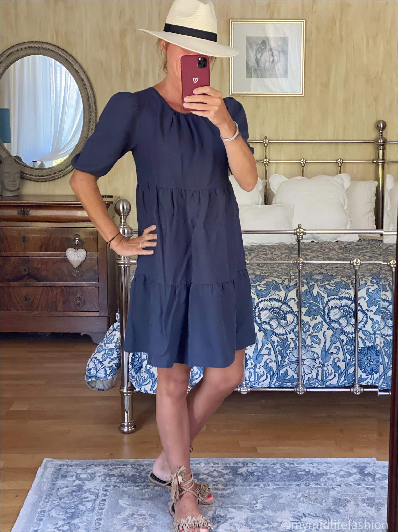 my midlife fashion, Baukjen Lucy hemp tiered dress, Zara Panama hat, suede tassel wrap around sandals