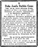 Esquela de Josefa Durbán