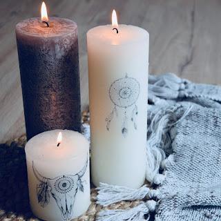 3 bougies customisées par transfert avec une tête de vache bohème