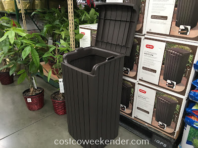 Conceal unsightly trash with the Keter Copenhagen Wood Look Waste Bin
