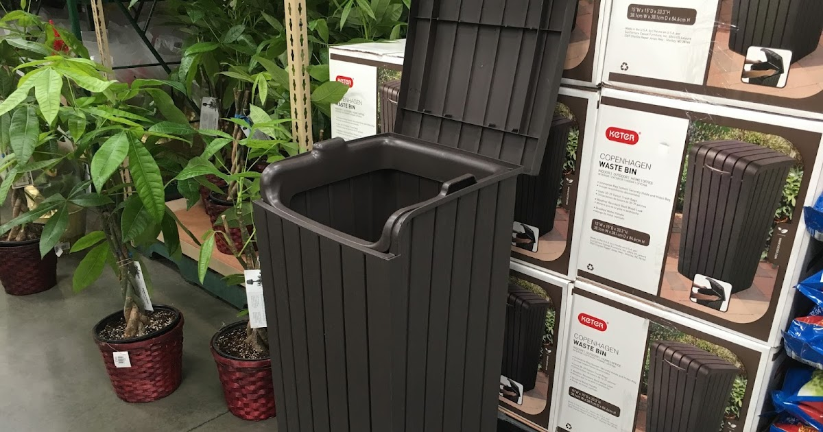 kitchen trash bin pull down faucet keter copenhagen wood look waste | costco weekender