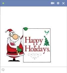 Santa holding happy holidays sign