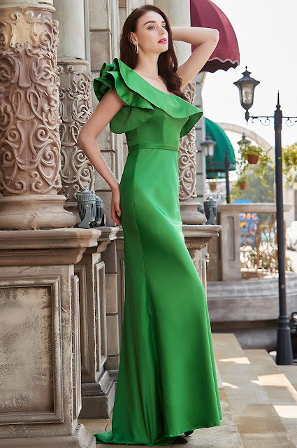 new green prom dress with ruffled one shoulder