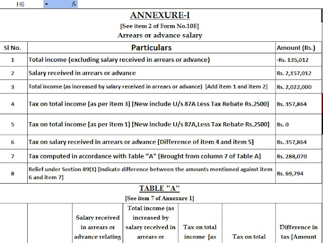 Income Tax Arrears Relief Calculator U/s 89(1) for the F.Y.2020-21