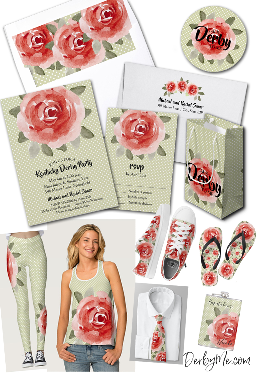 Talk Derby to Me! Red Cabbage Rose Collection - Kentucky Derby Party Invitations, Party Supplies, even Party Attire! Shop DerbyMe.com