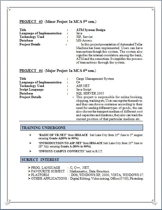 resume format pdf for mca