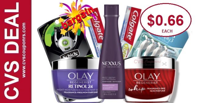 Olay, Nexxus, Razor & Colgate CVS Deals
