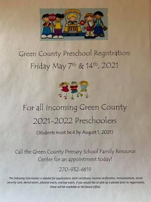 Green County Preschool Registration 2021