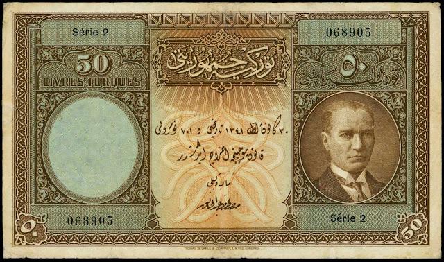Turkey Currency 50 Turkish Lira banknote 1927 President Mustafa Kemal Atatürk