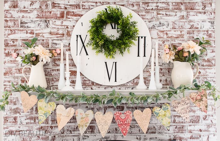 fireplace mantel with vintage heart garland