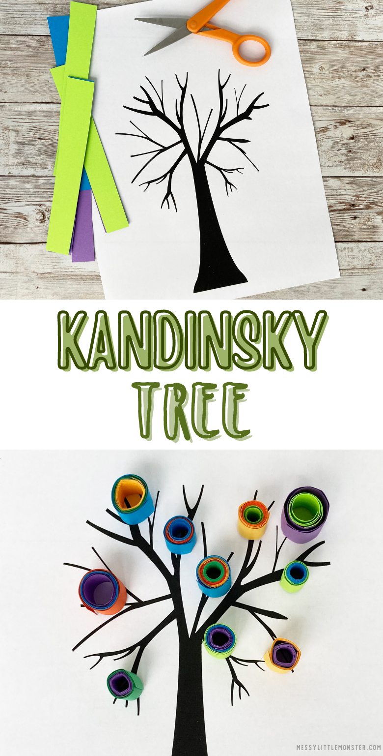 Kandinsky tree art project. Kandinsky for kids. Quilling for kids