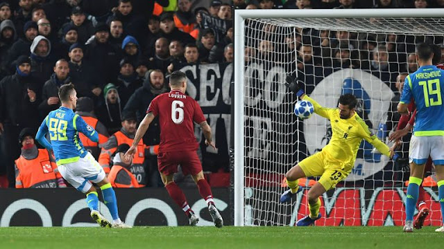 Liverpool Allison Saves Late Napoli Shot