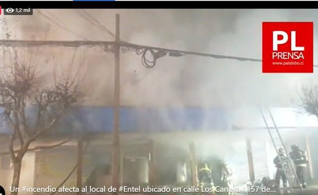 Osorno: Incendio afecta local Entel, inmueble de 3 pisos