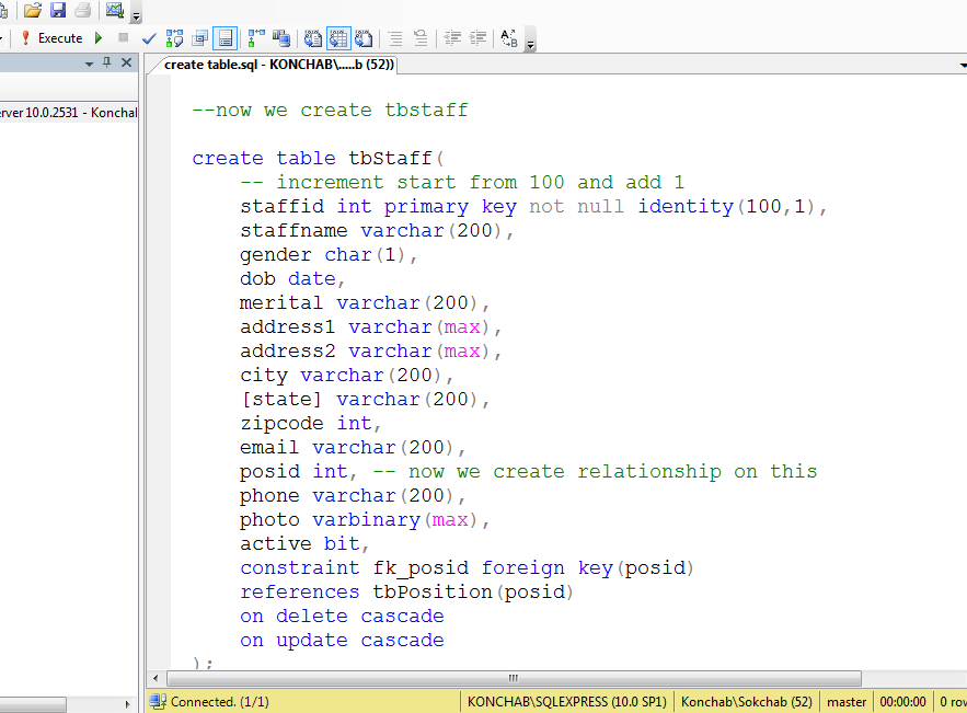 How To create table in sql server by query for relationship - ikh74