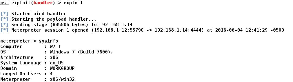 Whitelist: METASPLOIT - Windows 7 - Bind TCP Shell