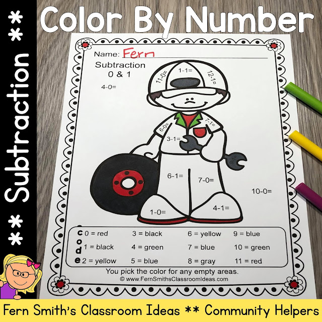 Click Here to Download This Community Helpers Career Themed Color By Number Subtraction Resource For Your Class Today!