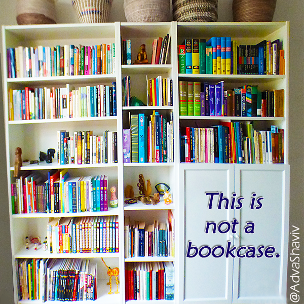 a bookcase with the text: this is not a bookcase.
