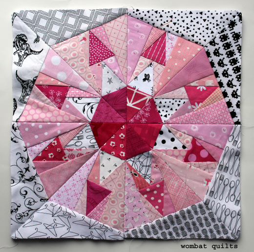 Spikey Snowball Quilt Block Designed by Cath Hall of Wombat Quilts