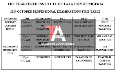 CITN Exam Timetable October 2019