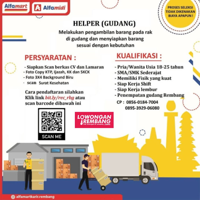 Lowongan Kerja Helper Gudang Alfamart Pasar Banggi Rembang