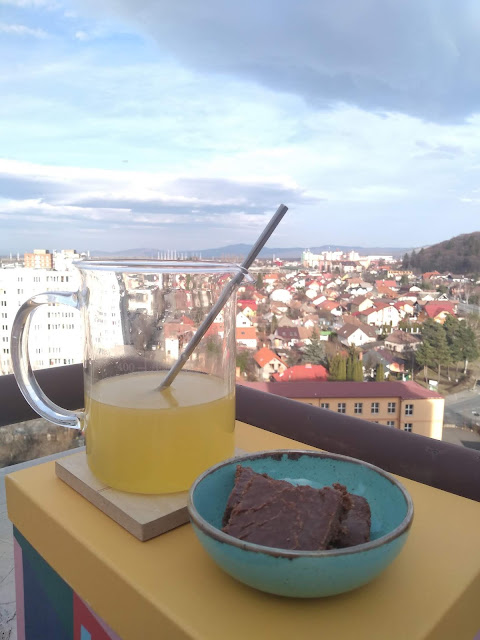 Homemade chocolate and orangeade on a warm spring day