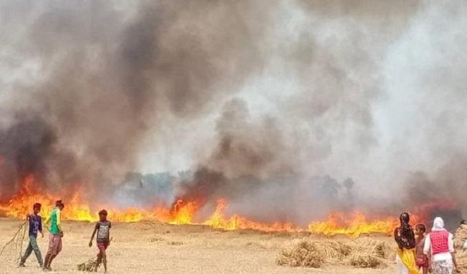 पचोखर गांव के हरिजन बस्ती से, आग का तांडव, 400 बीघा गेहूं की फसल जलकर राख