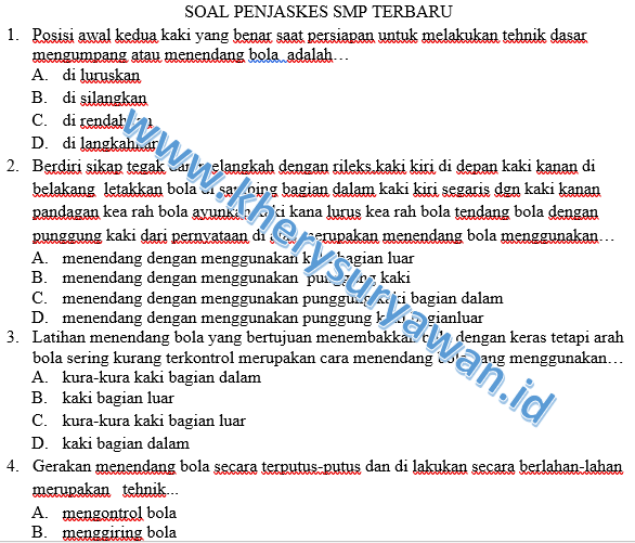 Soal Dan Kunci Penjas Kelas 7 8 9 Smp Terbaru Kherysuryawan Id